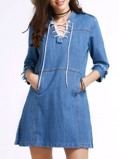 Retro Lace-Up Stand Neck 3/4 Sleeve Dress - Blue L