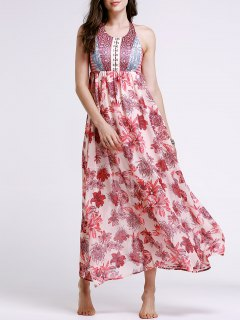 Printed Lace-Up Round Neck Sleeveless Dress - Red S