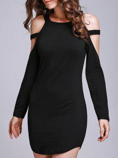 Black Hollow Round Collar Long Sleeve Dress - Black S