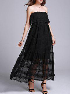 Embroidery Strapless Prom Dress - Black M