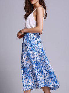 Blue Floral Print High Waisted Skirt - Blue And White S