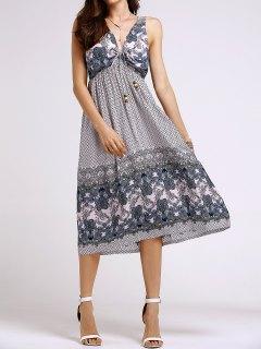 Bohemian Printed Beach Round Neck Sleeveless Dress - Shallow Pink S