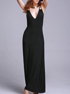 Black Cami Backless Maxi Dress - Black Xl