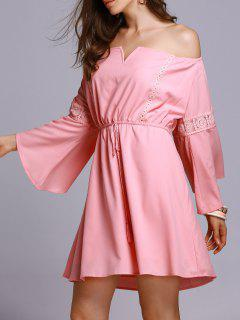 Lace Insert Off The Shoulder A Line Dress - Pink L
