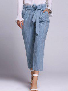 Striped Belted Neuvième Pantalons - Bleu Léger  S