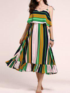 Tie-Shoulder Multicolored Overlay Sundress - M