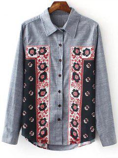 Turn-Down Collar Long Sleeve Printed Vintage Shirt - Blue Gray S