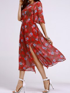 High Waisted Round Neck Tiny Floral Print Dress - Orange Red S