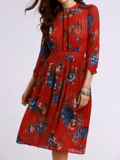 Waisted Stand Neck Pleated Floral Print Dress - Jacinth S