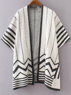 Wavy Stripe Cloak Cardigan - Black Grey