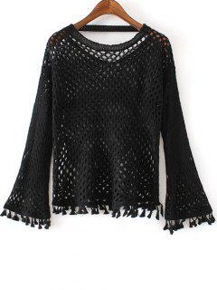 Round Neck Flare Sleeve Tassels Cut Out Sweater - Black