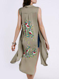 Haute Slit Manches Floral Broderie Robe Chemise - Pois Verts S