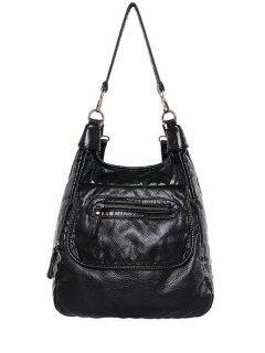 Zip PU Leather Solid Color Shoulder Bag - Black