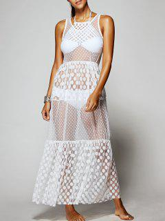 Dotted Sheer Mesh Cover-Up - Blanc Cassé
