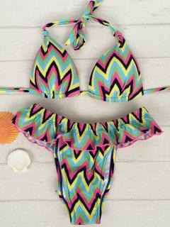 Zig Zag Halter Flouncing Bikini Set - Light Green S