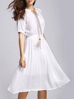 Pure Color V Neck Half Sleeve Dress - White
