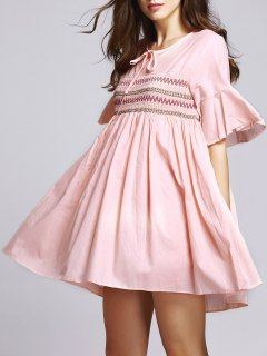 Embroidery Round Neck Half Sleeves Dress - Pink