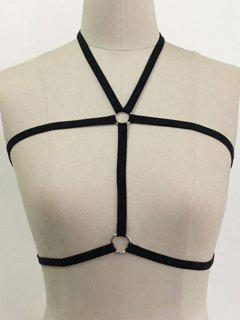 Halter Cupless Harness Bra - Black S