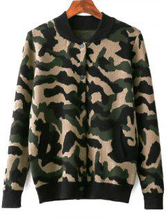 Camouflage Pattern Stand Neck Jacket - Army Green