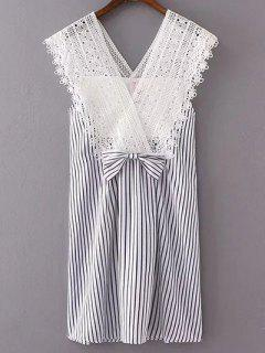 Lace Splice V Neck Striped Dress - S