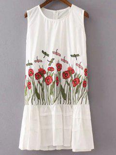 Floral Embroidered Round Neck Sundress - White S