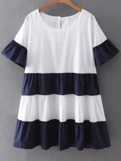 Stripe Round Neck Short Sleeve Shift Dress - Cadetblue