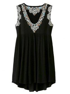 Floral Embroidery V Neck Sleeveless Smock Dress - Black S