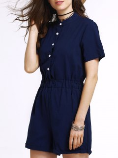 Single-Breasted Solid Color Stand Neck Short Sleeve Romper - Blue M