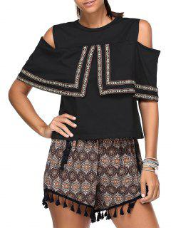 Cold Shoulder T-Shirt And Tassels Shorts Twinset - Black
