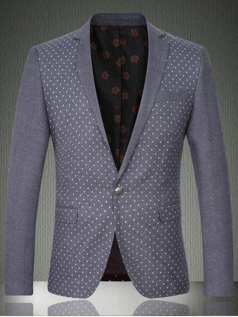 Impreso de solapa manga larga Diseño del botón chaqueta para los hombres - Gris M Mobile