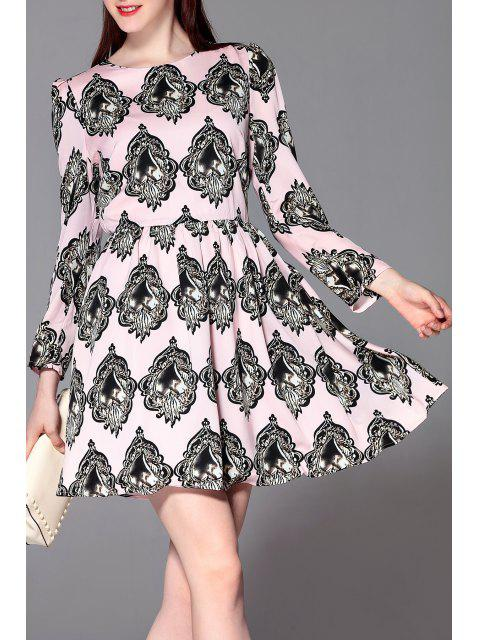 affordable Slimming Patterned Dress - PINK L Mobile