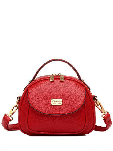 chic Metal Zip PU Leather Tote Bag - RED  Mobile