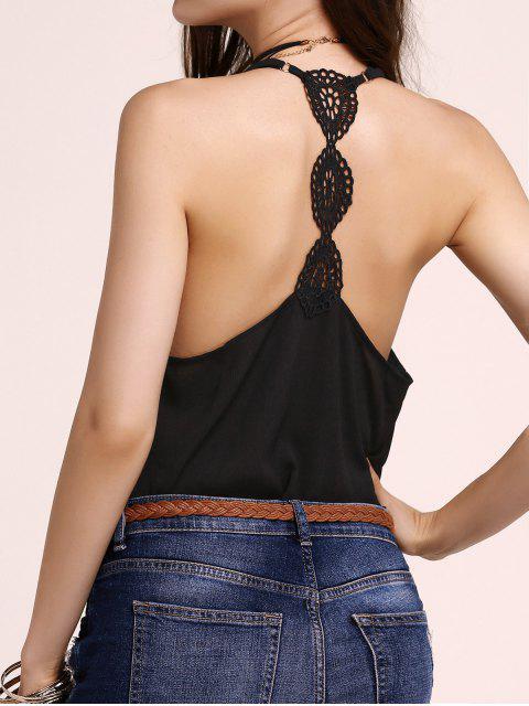 women Fitting Lace Splicing Spaghetti Strap Tank Top - BLACK M Mobile