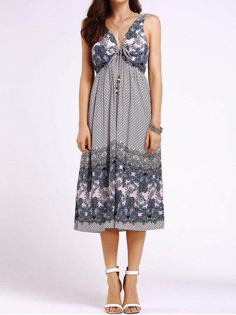 new Bohemian Printed Beach Round Neck Sleeveless Dress - SHALLOW PINK S Mobile