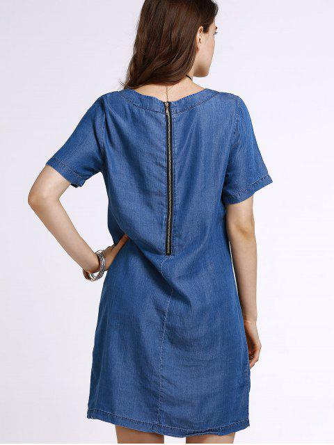 unique Embroidery Denim Dress with Pocket - ICE BLUE M Mobile