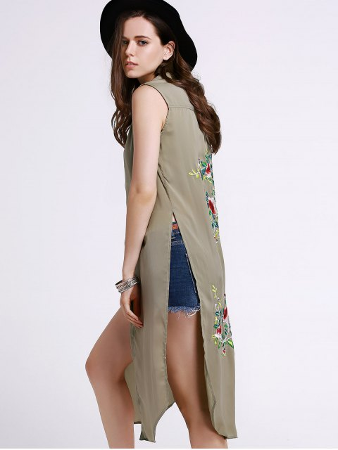 womens High Slit Sleeveless Floral Embroidery Shirt Dress - PEA GREEN S Mobile