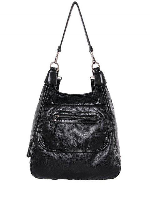 womens Zip PU Leather Solid Color Shoulder Bag - BLACK  Mobile