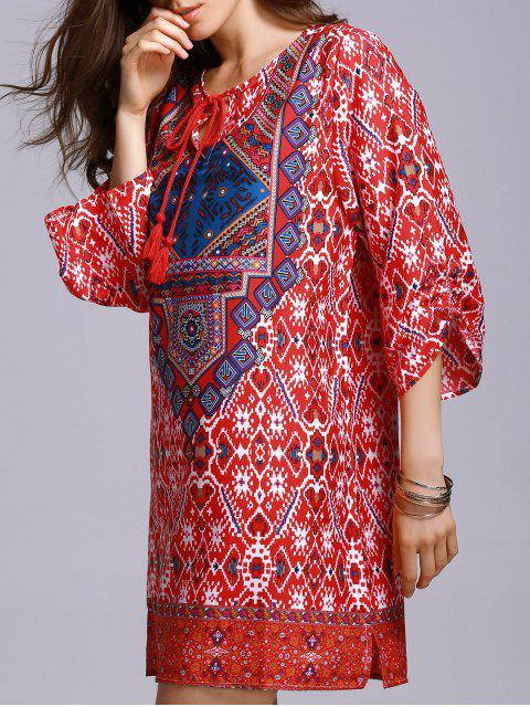 ladies Red Peasant Dress - RED S Mobile