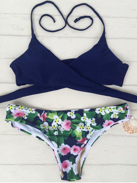 trendy Tiny Floral Print Halter Wrap Bikini Set - PURPLISH BLUE XL Mobile
