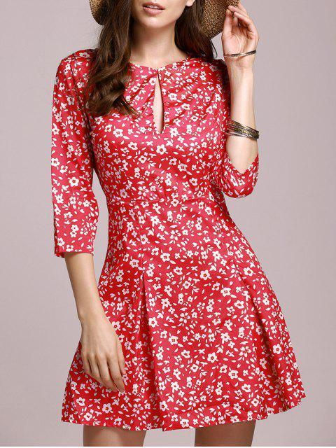 best Tiny Floral Keyhole Neckline Dress - RED S Mobile