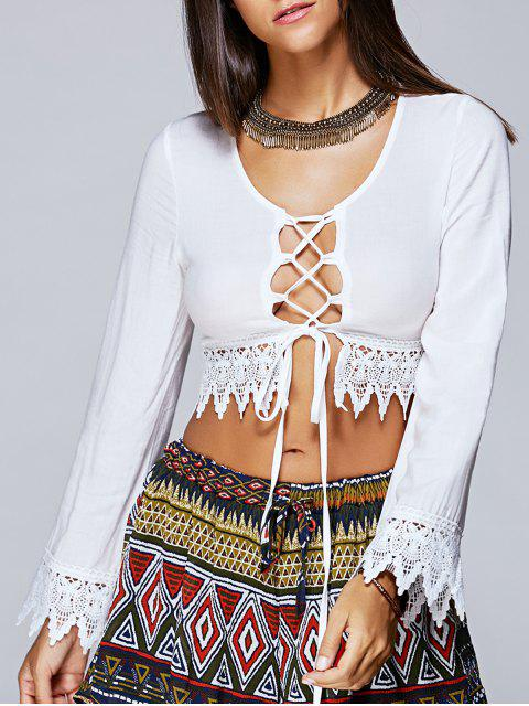 Ate para arriba la blusa de manga larga recortada - Blanco S Mobile