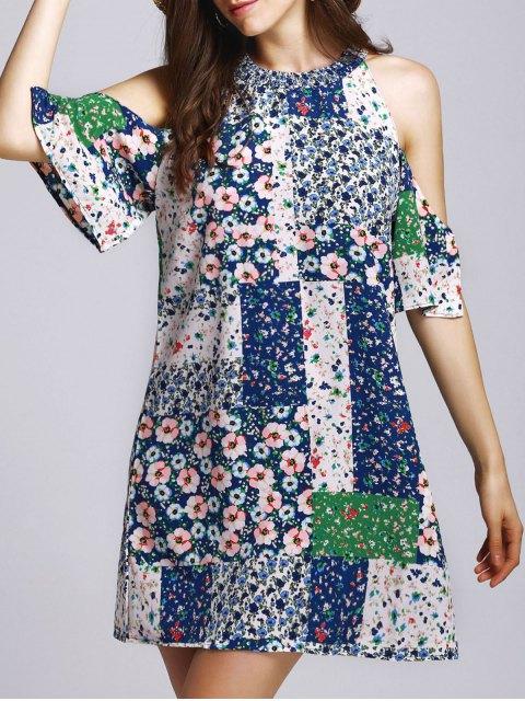 Tiny Floral cuello redondo vestido fotografica - Colores Mezclados M Mobile
