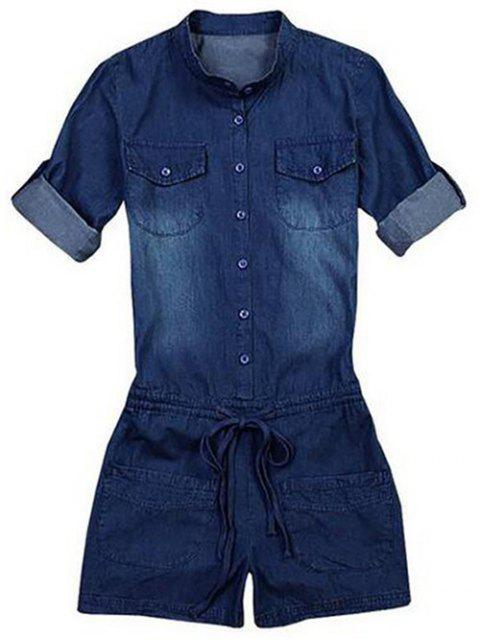 best Belted Bleach Wash Jean Romper - BLUE M Mobile