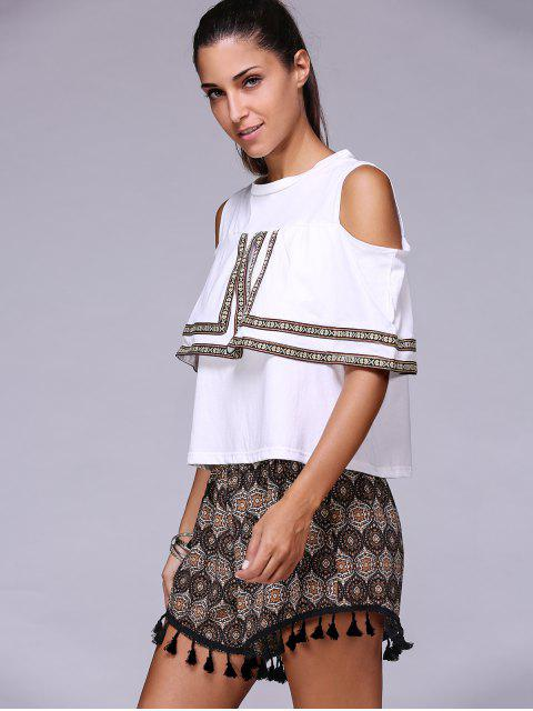 outfit Cold Shoulder Round Neck T-Shirt and Tassels Shorts Twinset - WHITE ONE SIZE(FIT SIZE XS TO M) Mobile