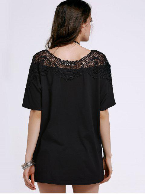 outfit Cut Out Lace Spliced Round Neck Short Sleeve T-Shirt - BLACK XL Mobile