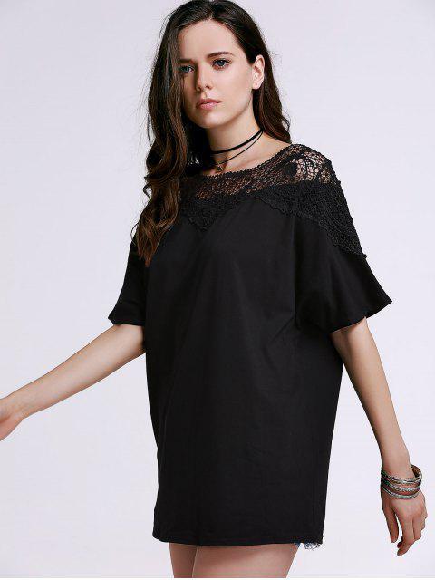 T-shirt découpé embelli patchwork de dentelle à col rond à manches courtes - Noir XL Mobile