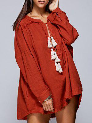 Solid Color Round Neck Long Sleeve Tassels Blouse - Jacinth S