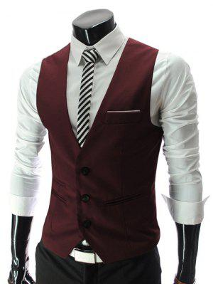 V-Neck Single Breasted Edging Solid Color Sleeveless Waistcoat For Men - Red L