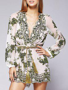Voile Sequins Plunging Neck See-Through Romper - Green M