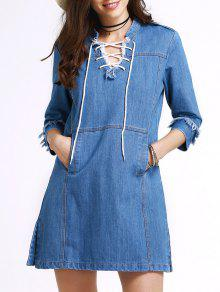 Retro Lace-Up Stand Neck 3/4 Sleeve Dress - Blue M